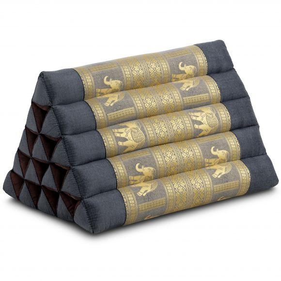 Kapok Dreieckskissen mit Seidenstickerei, extrahoch, grau-Elefanten
