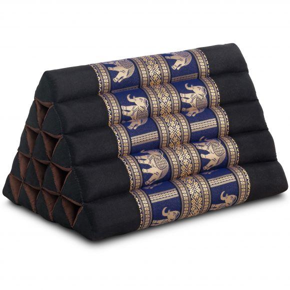 Kapok Dreieckskissen mit Seidenstickerei, extrahoch, schwarz/blau-Elefanten