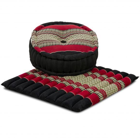 Kapok, Zafukissen mit großem Steppkissen L, schwarz-rot