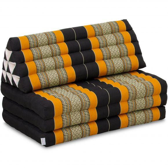 Kapok Thaikissen in XXL-Breite, Dreieckskissen, schwarz/orange