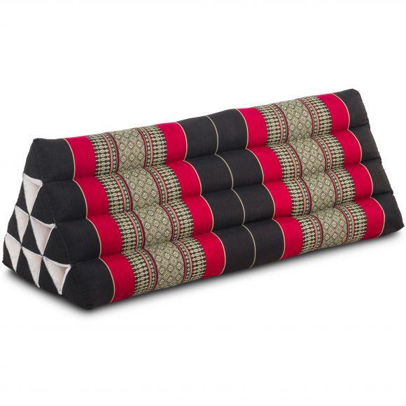 Kapok Dreieckskissen, Thaikissen, Rückenlehne extrabreit, schwarz/rot