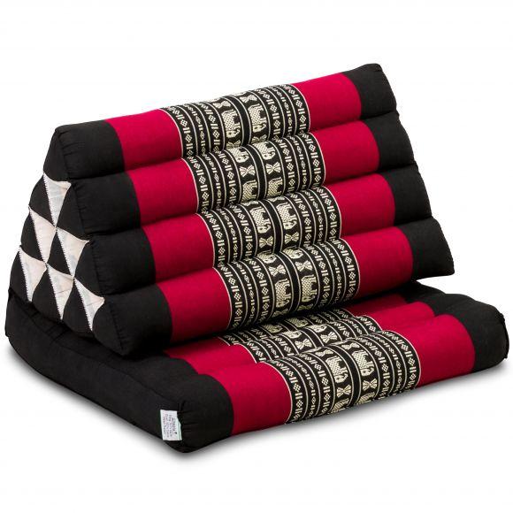 Kapok Thaikissen, Dreieckskissen mit 1 Auflage, schwarz/Elefanten