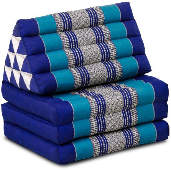 Kapok Thaikissen, Dreieckskissen, blau, 3 Auflagen