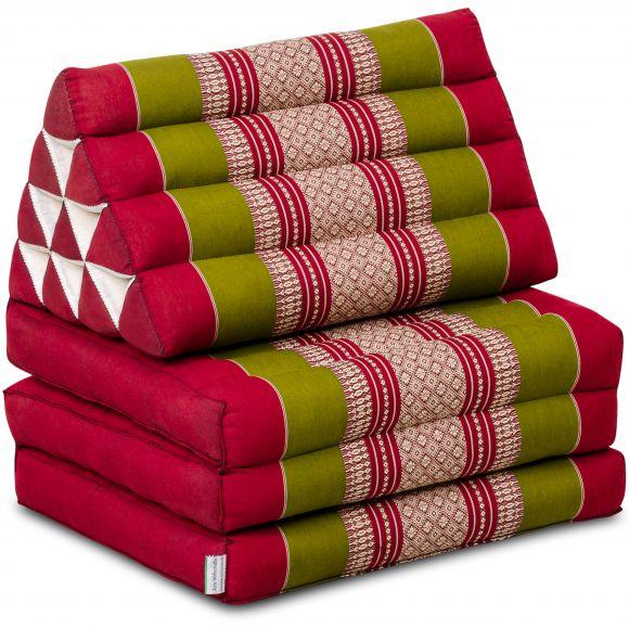 Kapok Thaikissen, Dreieckskissen, rot/grün, 3 Auflagen