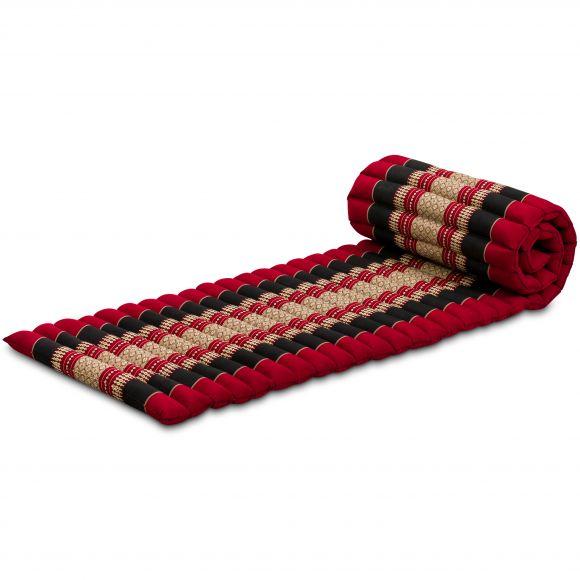 Kapok Rollmatte, Thaimatte, rot / schwarz