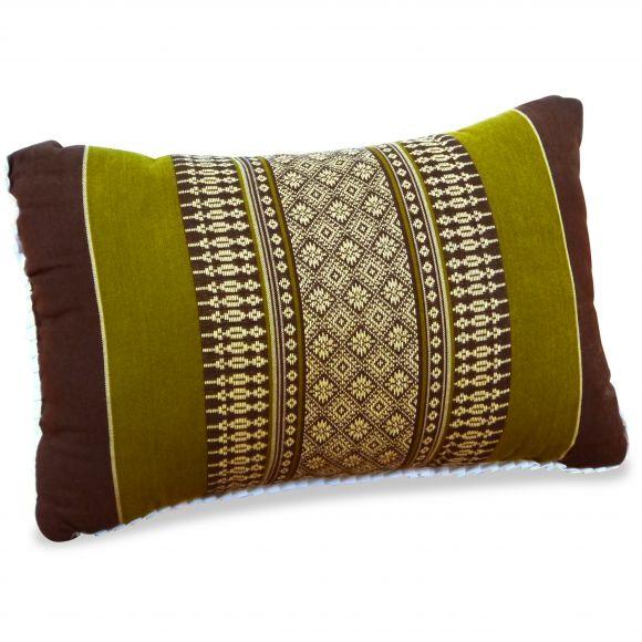 kleines Kapok-Kissen Dekokissen braun / grün, 22 cm x 33 cm x 13 cm