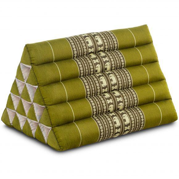 Kapok Dreieckskissen, Thaikissen, Rückenlehne extrahoch, grün/Elefant