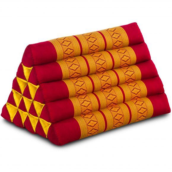 Kapok Dreieckskissen, Thaikissen, Rückenlehne extrahoch, rot/gelb
