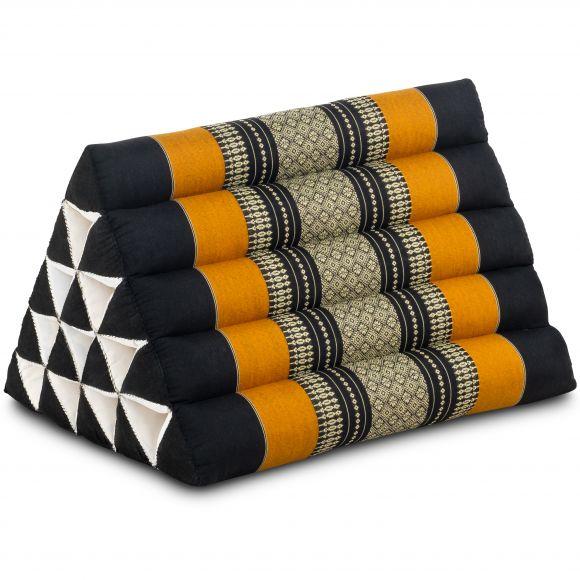 Kapok Dreieckskissen, Thaikissen, Rückenlehne extrahoch, schwarz/orange