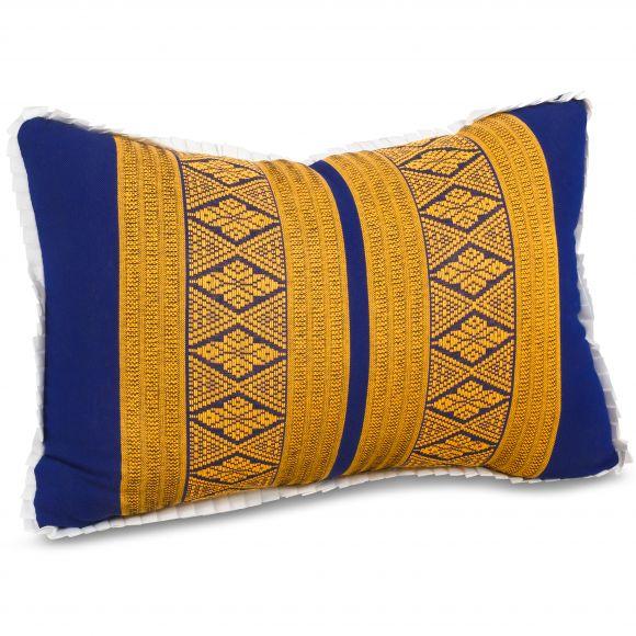 kleines Kapok-Kissen Dekokissen blau / gelb, 22 cm x 33 cm x 13 cm