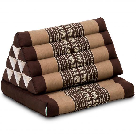 Kapok Thaikissen, Dreieckskissen mit 1 Auflage, braun/Elefanten