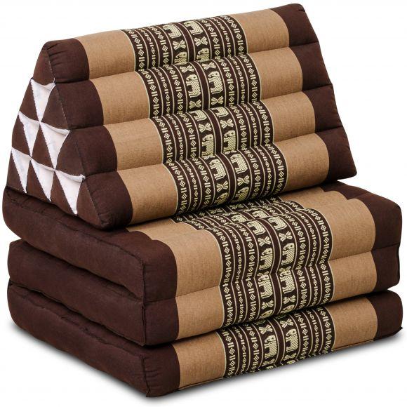 Kapok Thaikissen, Dreieckskissen, braun/Elefanten, 3 Auflagen