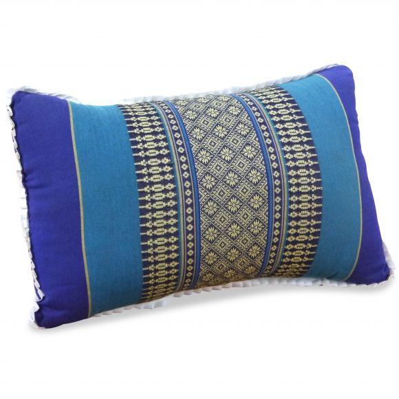 kleines Kapok-Kissen Dekokissen blau, 22 cm x 33 cm x 13 cm