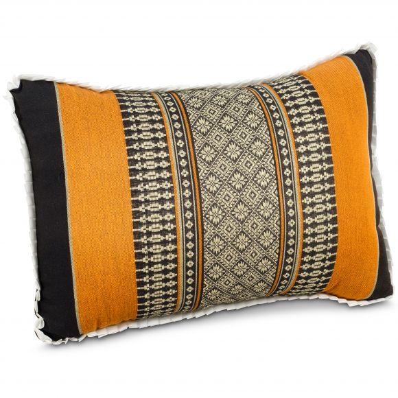 kleines Kapok-Kissen Dekokissen schwarz / orange, 22 cm x 33 cm x 13 cm