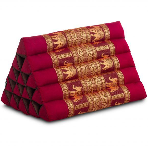 Kapok Dreieckskissen mit Seidenstickerei, extrahoch, bordeaux-Elefanten