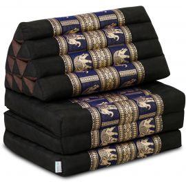 Thaikissen Deluxe mit Seidenstickerei, schwarz-blau/Elefant