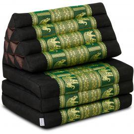 Thaikissen Deluxe mit Seidenstickerei, schwarz-grün/Elefant