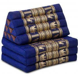 Thaikissen Deluxe mit Seidenstickerei,  blau/Elefant