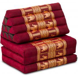 Thaikissen Deluxe mit Seidenstickerei, rot/Elefant