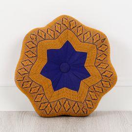Zafu Meditationskissen, kleiner Stern, blau / gelb