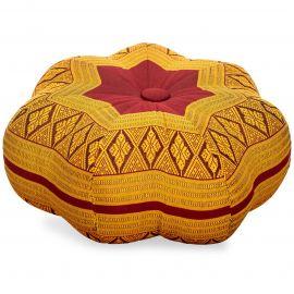 Zafu Meditationskissen, kleiner Stern, rot / gelb