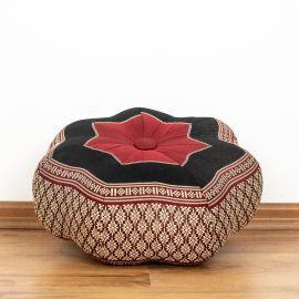 Zafu Meditationskissen, kleiner Stern, rot / schwarz