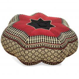 Zafu Meditationskissen, kleiner Stern, schwarz / rot