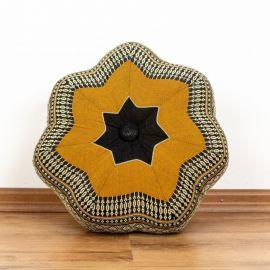 Zafu Meditationskissen, kleiner Stern, schwarz / orange