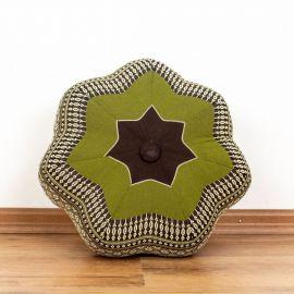 Zafu Meditationskissen, kleiner Stern, braun / grün