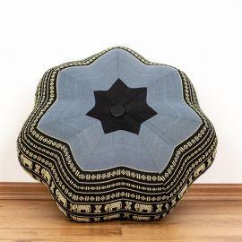 Zafu Meditationskissen, großer Stern, blau / Elefanten