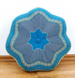 Zafu Meditationskissen, großer Stern, hellblau