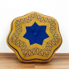 Zafu Meditationskissen, großer Stern, blau / gelb