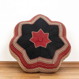 Zafu Meditationskissen, großer Stern, rot / schwarz