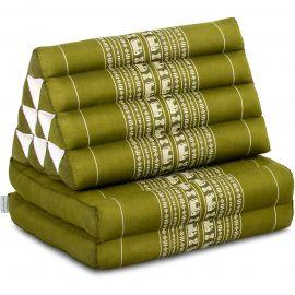 Kapok Thaikissen, Dreieckskissen, grün/Elefant, 2 Auflagen