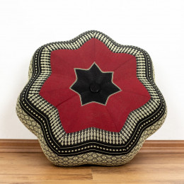 Zafu Meditationskissen, großer Stern, schwarz / rot