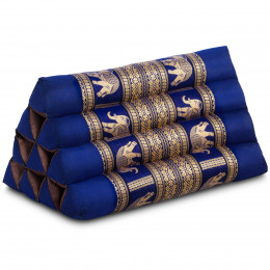 Kapok Dreieckskissen mit Seidenstickerei, blau-Elefanten
