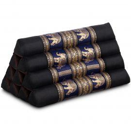 Kapok Dreieckskissen mit Seidenstickerei, schwarz/blau-Elefanten