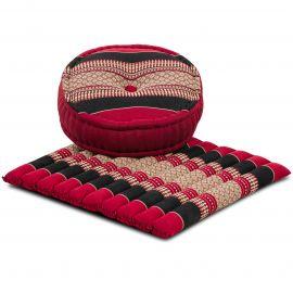 Kapok, Zafukissen mit großem Steppkissen L, rot-schwarz