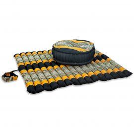 Kapok, Zafukissen mit extragroßem Steppkissen XL, schwarz-orange