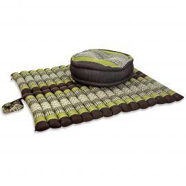 Kapok, Zafukissen mit extragroßem Steppkissen XL, braun-grün