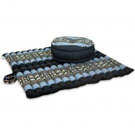 Kapok, Zafukissen mit extragroßem Steppkissen XL, blau-Elefanten