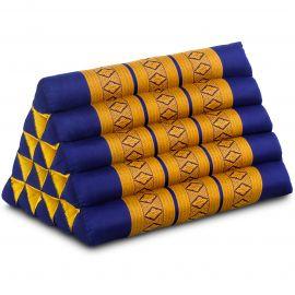 Kapok Dreieckskissen, Thaikissen, Rückenlehne extrahoch, blau/gelb