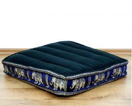 Kapok Thaikissen, Bodensitzkissen, Meditationskissen schwarz-blau / Elefanten