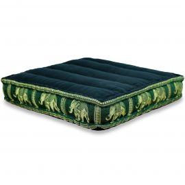 Kapok Thaikissen, Bodensitzkissen, Meditationskissen schwarz-grün / Elefanten