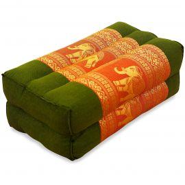 Stützkissen, Yogakissen mit Seide  grün-orange / Elefanten