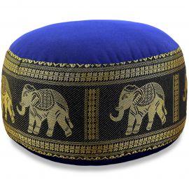 kleines Zafu Meditationskissen, Seide, blau-schwarz / Elefanten