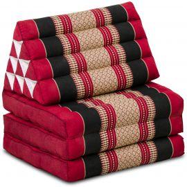 Kapok Thaikissen, Dreieckskissen, rot/schwarz, 3 Auflagen
