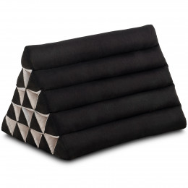 Kapok Dreieckskissen, Thaikissen, Rückenlehne extrahoch, schwarz, einfarbig