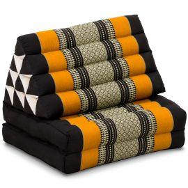 Kapok Thaikissen, Dreieckskissen, schwarz/orange, 2 Auflagen