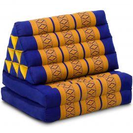 Kapok Thaikissen, Dreieckskissen, blau/gelb, 2 Auflagen
